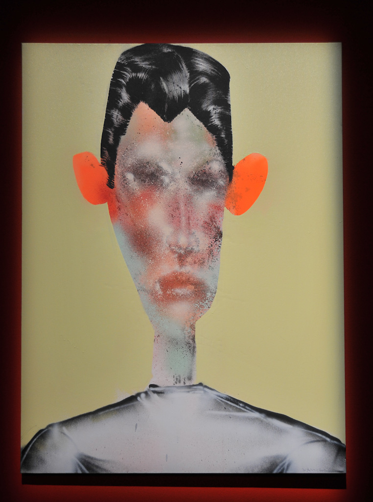 """Gerald Luis"" by David Choe, 2010. Mixed media, acrylic, latex, oil, oil stick, spray paint on wood"