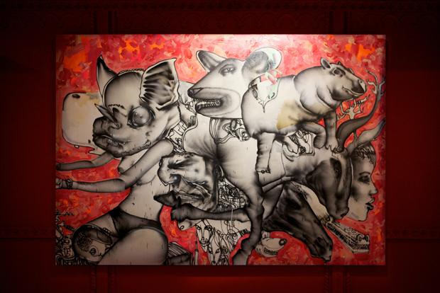 """Munko, batgirl on bike, old man, mechanical bull, horse head, ..."" by David Choe, 2010. 213.5 cm x 305 cm  Mixed media, acrylic, latex, oil"
