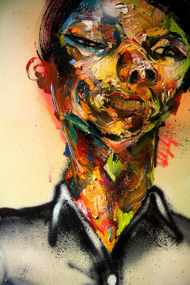 """Wayne"" by David Choe, 2010. Mixed media, acrylic, latex, oil paint, oil stick, spray paint on canvas"