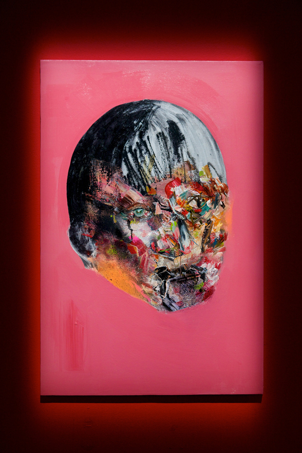 """Resort to Violence"" by David Choe, 2010. Mixed media, acrylic, latex, oil paint, oil stick, spray paint on canvas"
