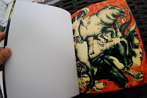 "Detail from ""Munko, batgirl on bike, old man, mechanical bull, horse head, ..."" by David Choe"