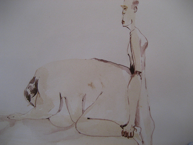 David Choe watercolor from Gardeners of Eden show