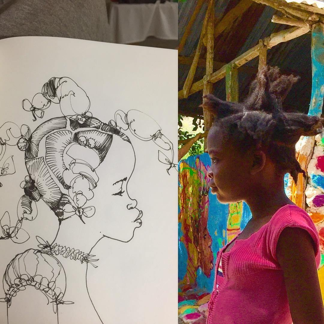 Portrait of a young Hatian girl by artist David Choe in collaboration with the Lide Foundation.