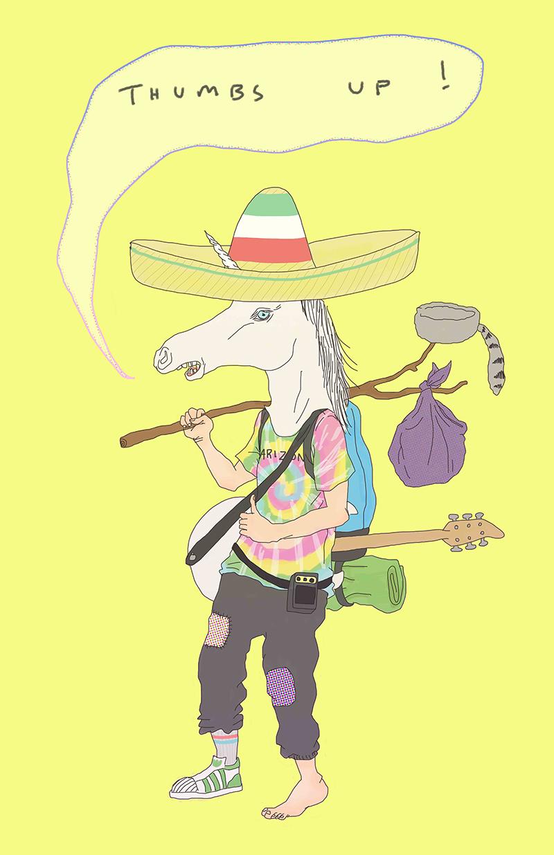Tae Lee portrait of Guam Cruise - a hitchhiking, tye-dye wearing, hat loving, unicorn.