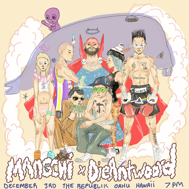 Mangchi and Die Antwoord concert poster art by Tae Lee - featuring Yolandi, Dylan the Kid, Igloo Hong, Money Mark, Quanguo, Heather Leather, Ninja, and Munko