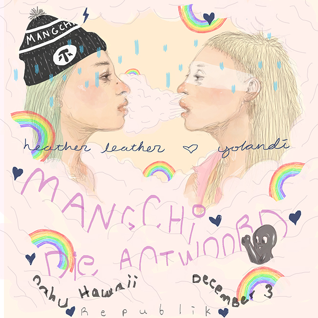 Heather Leather and Yolandi of Mangchi and Die Antwoord. Artwork by Tae Lee