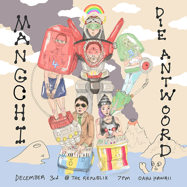 Mangchi and Die Antwoord show art by Tae Lee - with Money Mark, Ninja, Quangou, Igloo Hong, Yolandi, Heather Leather