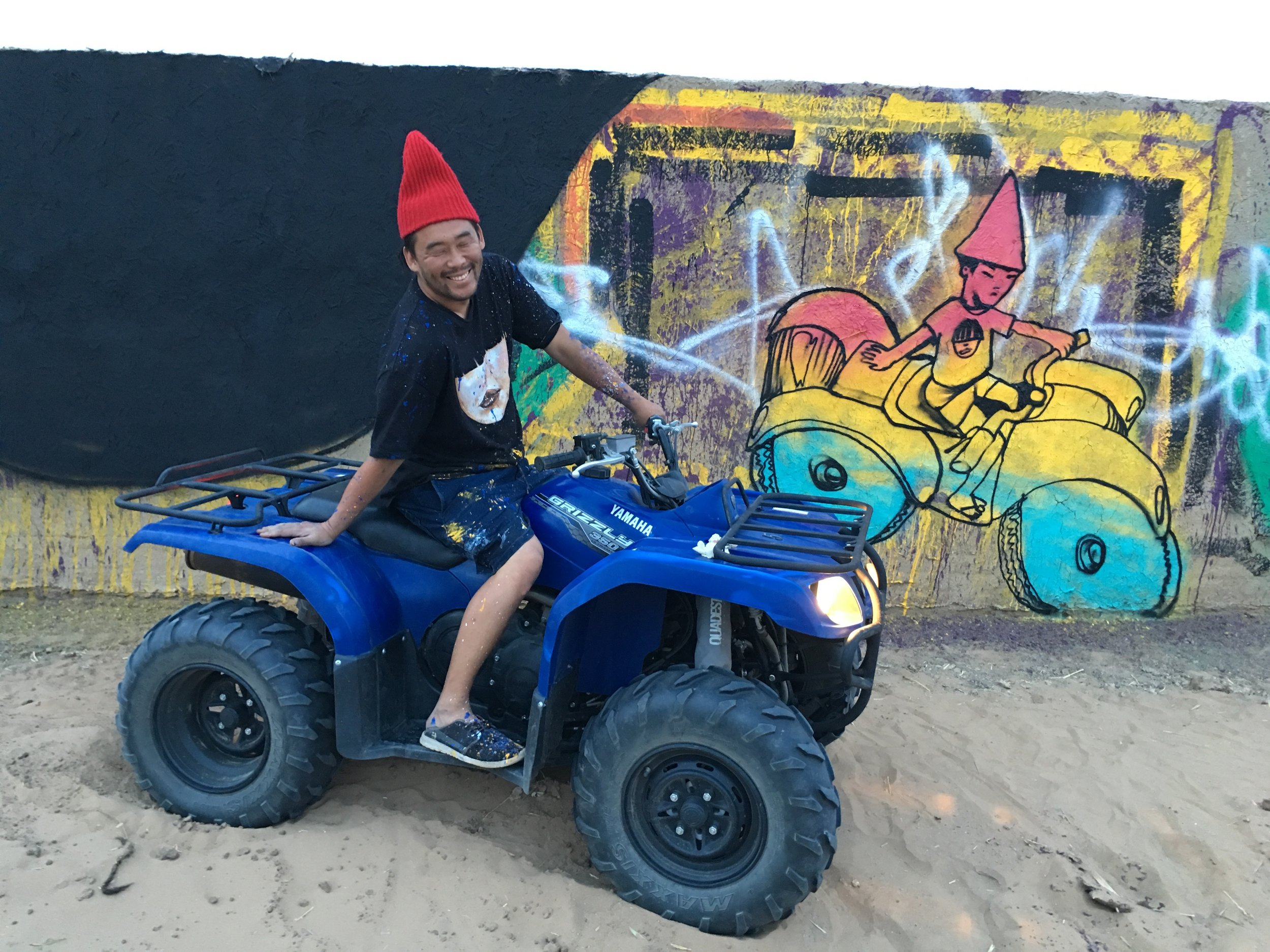 David Choe happy desert gnome. Igloo Hong, Morocco.