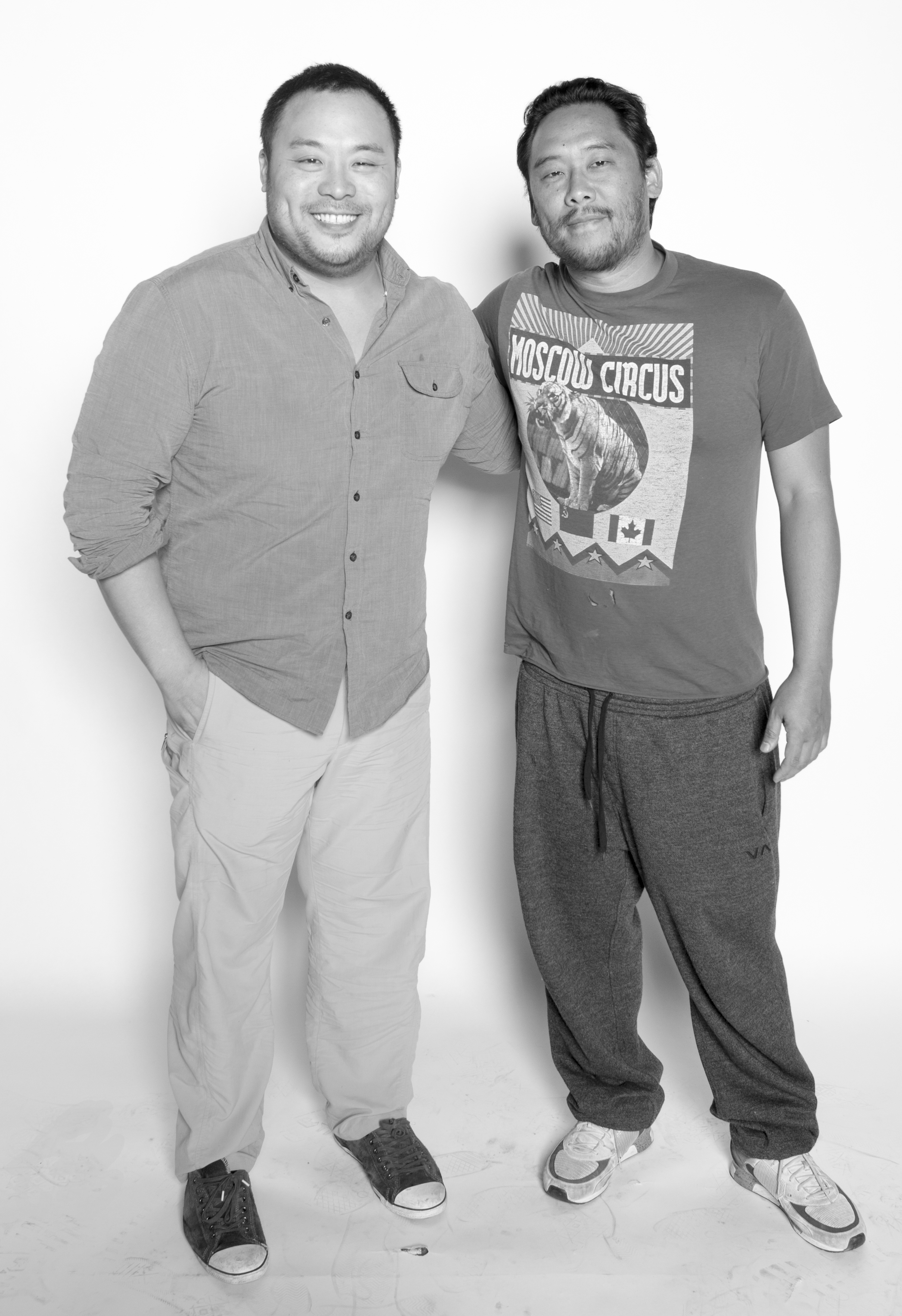 The Two Davids: Chef David Chang + Artist David Choe. Often confused for each other, mostly Choe for Chang, and close friends.