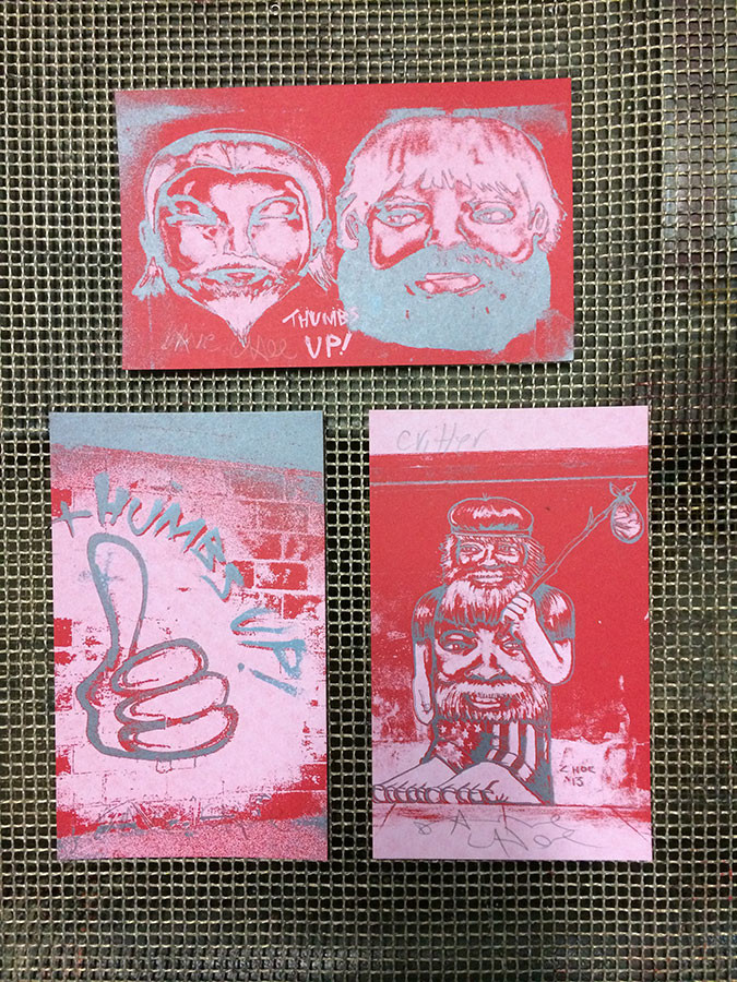 David Choe x Critter Thumbs Up! screen print collaboration with Burlesque