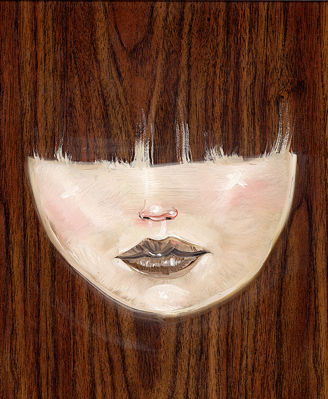 David Choe Bangs painting on wood panel