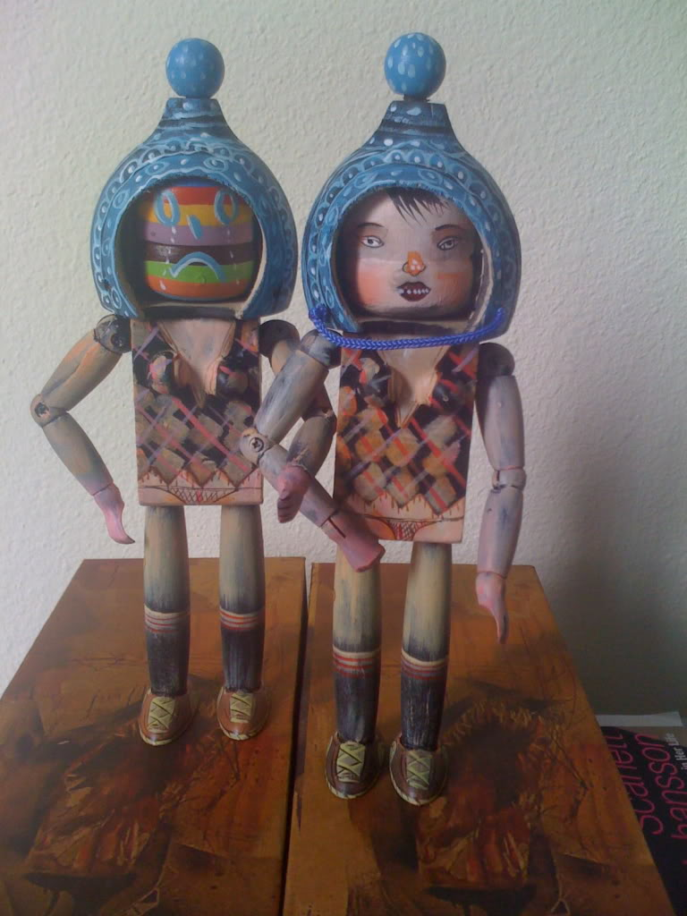 Choegals wooden dolls by artist David Choe