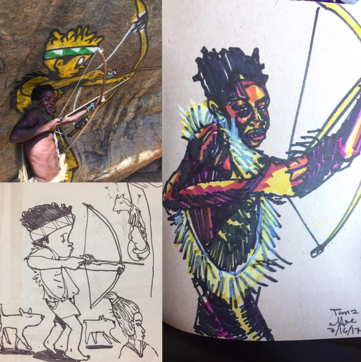 David Choe - Sharpie VS bow and arrow - Africa