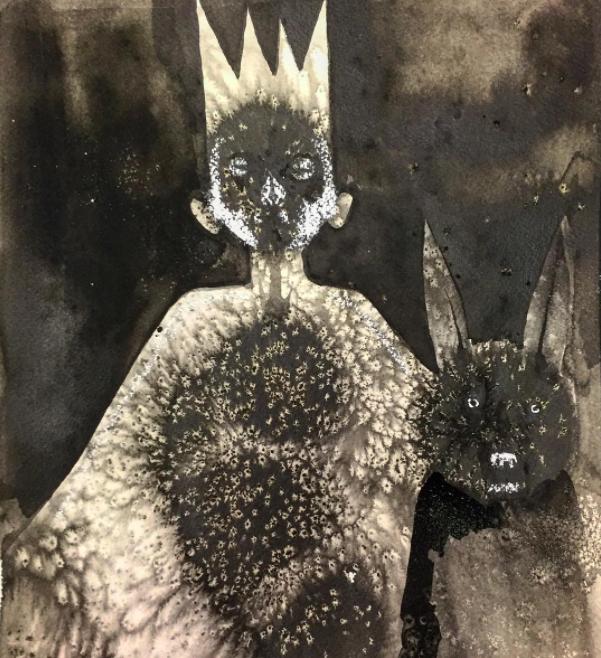 David Choe Bat and Batboy watercolor