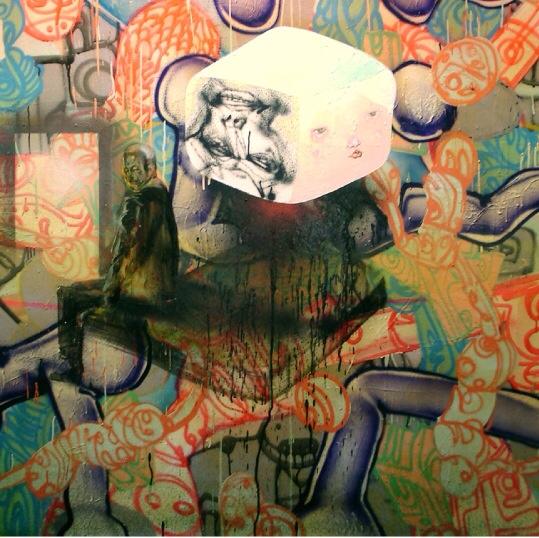 David Choe spray paint mural detail