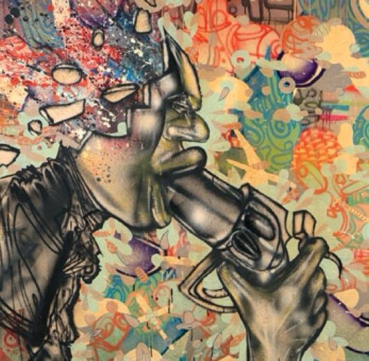 David Choe man with gun mural detail