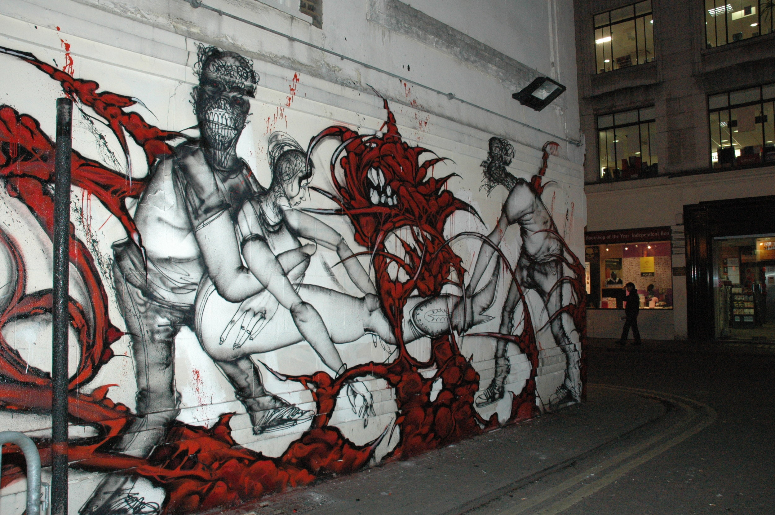David Choe x Saber mural collaboration for Going Nowhere Fast show in London 2012