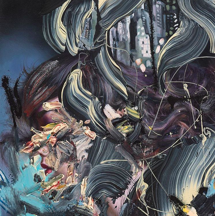 David Choe mixed media waves profile painting, the Choe Show