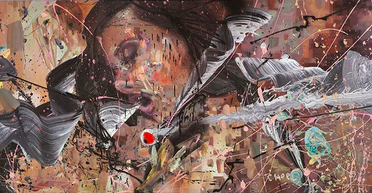 David Choe mixed media waves woman portrait, the Choe Show