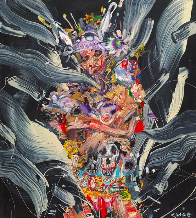 David Choe mixed media painting woman shades skulls - the Choe Show