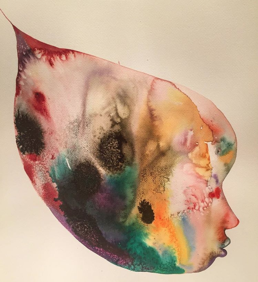 David Choe multicolor connected watercolor painting - faces
