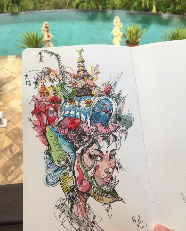 David Choe Bali Girl sketch