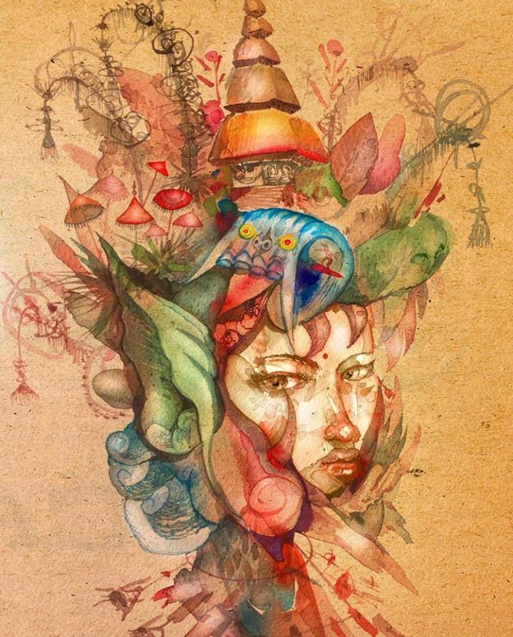Bali Girl David Choe watercolor painting