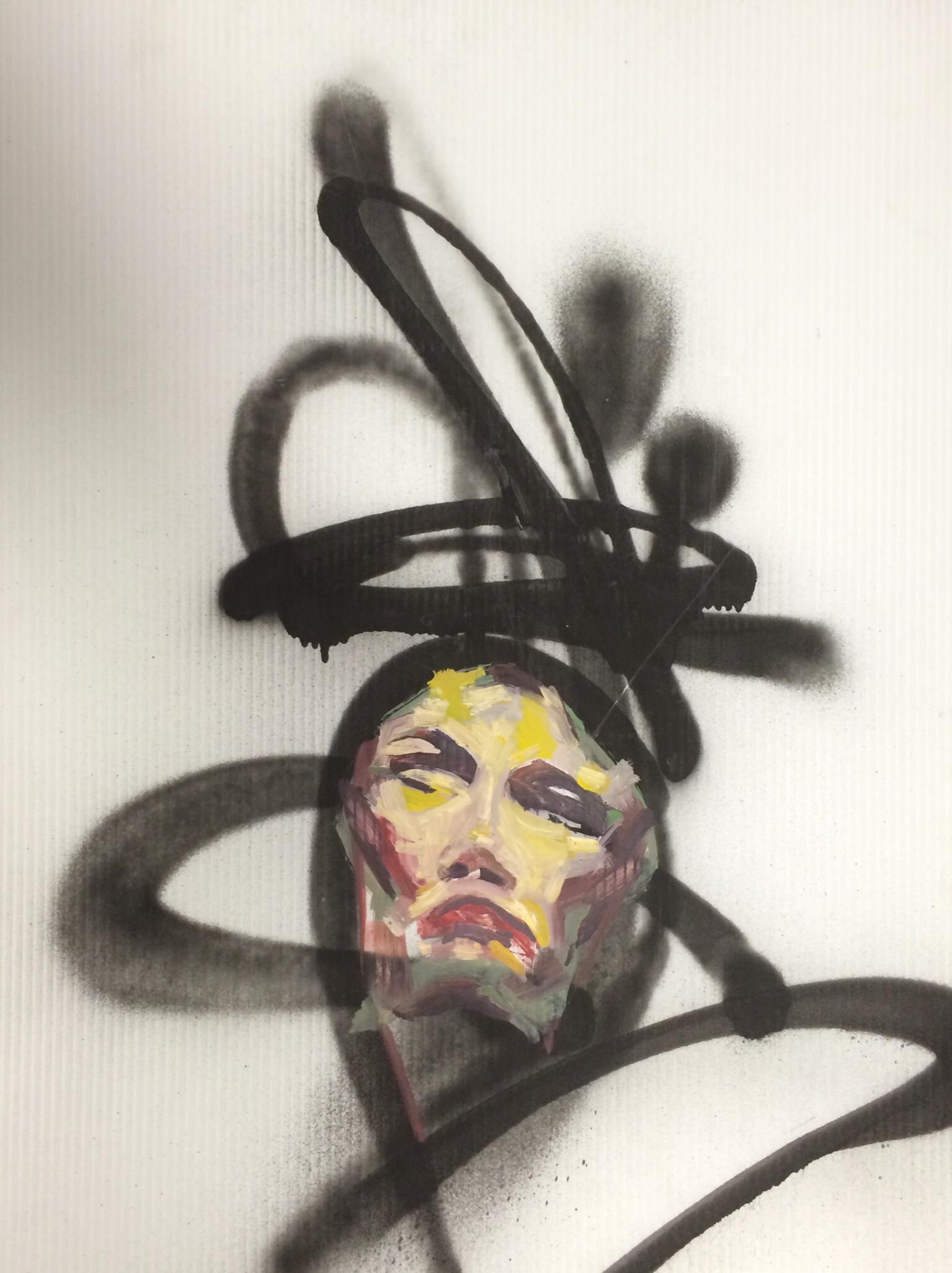David Choe mixed media spray paint face artwork