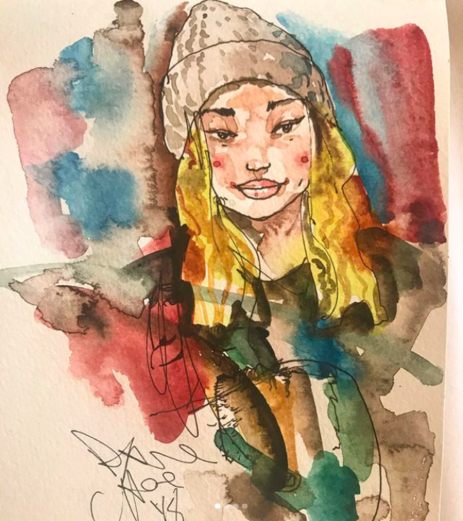 Half Pipe gold medalist Chloe Kim watercolor by artist David Choe - PyeongChang 2018 Olympics, South Korea