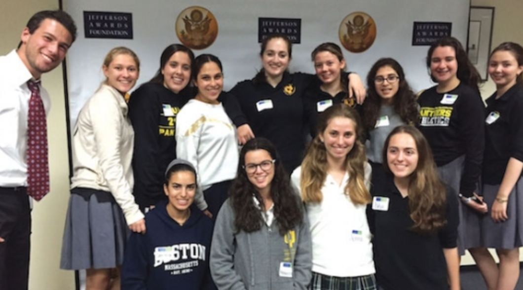 YULA Torah studies instructor Rabbi Yaakov Cohen and YULA students participating in the Jefferson Awards Students in Action Day were inspired by the Thrive in Joy Nick Fagnano Foundation's focus on turning tragedy into service.  They've chosen to honor their 15-year-old classmate, Tsofia Mesica, who was killed in a car accident, by committing to a year of community service at Children's Hospital in Los Angeles, where Tsofia had been a volunteer.