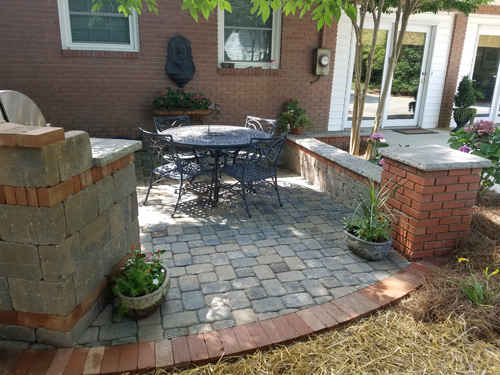 Concrete Paver Patio with Clay Paver Coping in Rock Hill SC