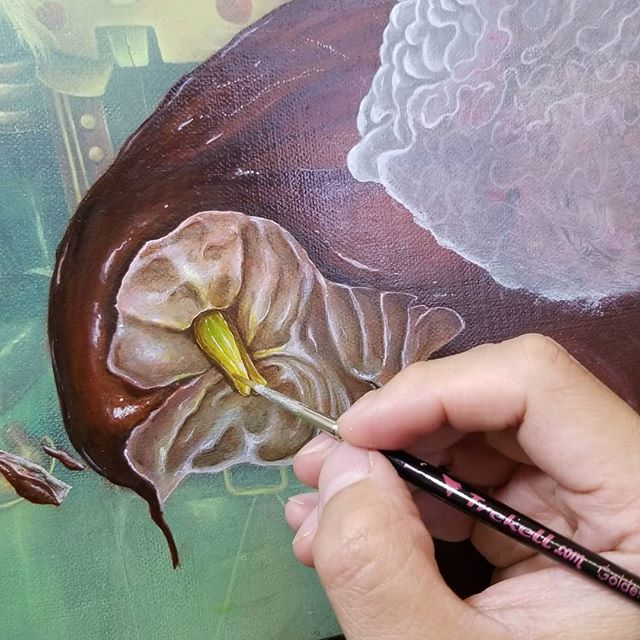 🍄 @trekell_art_brushes #art #artist #painting #acrylic #acrylicpainting #wip #popsurrealism #surrealism #illustration #brooklyn #nyc #instart #instartist
