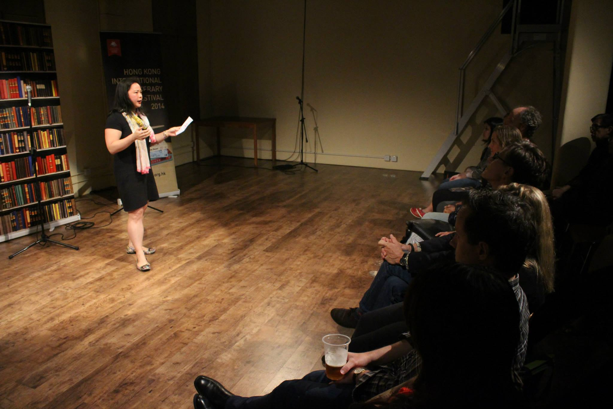 Liars' League Hong Kong performer Saffron Chan reading a short story by Dorothy Tse at the Hong Kong International Literary Festival, 2014.