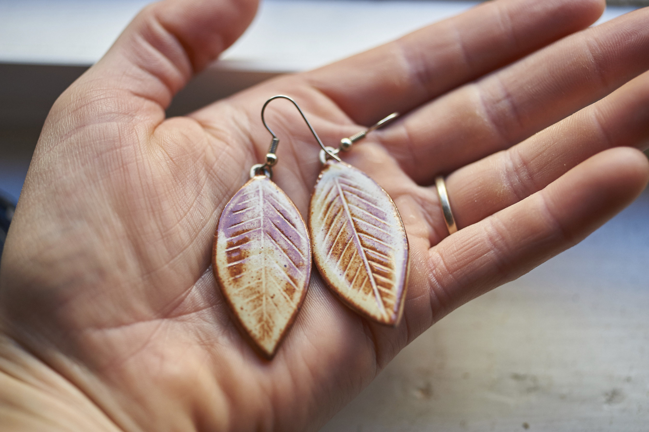 Bodie Leaf Earrings with high fire wire loops and stainless steel earring hooks