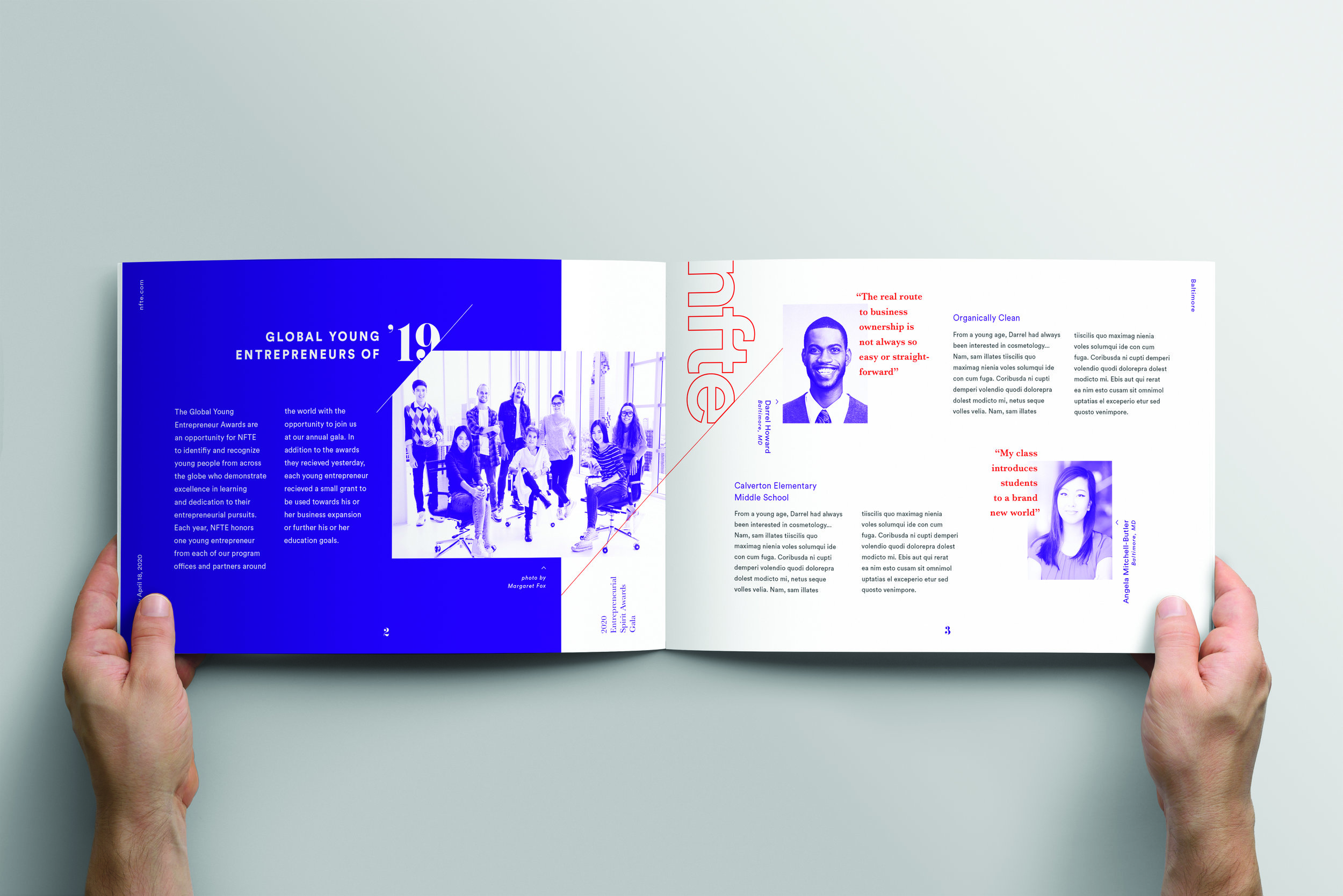 2020 Entrepreneurial Spirit Awards Gala Program Booklet Interior Spread Design