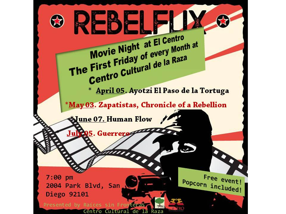 Movie night at the Centro, this flyer is for multiple events, the first being April 5th 2019!