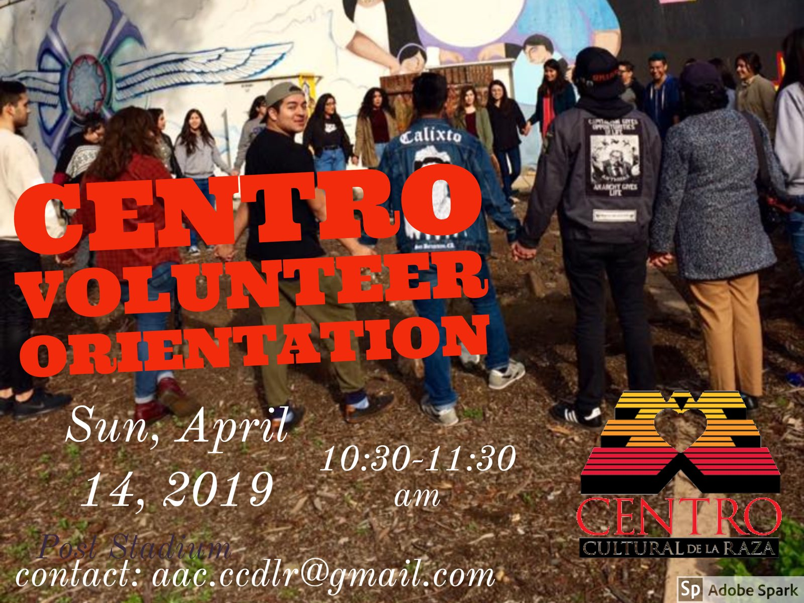 Volunteer Orientation Event organized by the AAC, will be held at the Centro on Sunday April 14, 2019 from 10:30 am to 11:30 am to familiarize current volunteers of the history and tradition of the Centro.  Please contact us at  aac.ccdlr@gmail.com  for more information on attending the event or becoming a future volunteer at the Centro Cultural De La Raza.