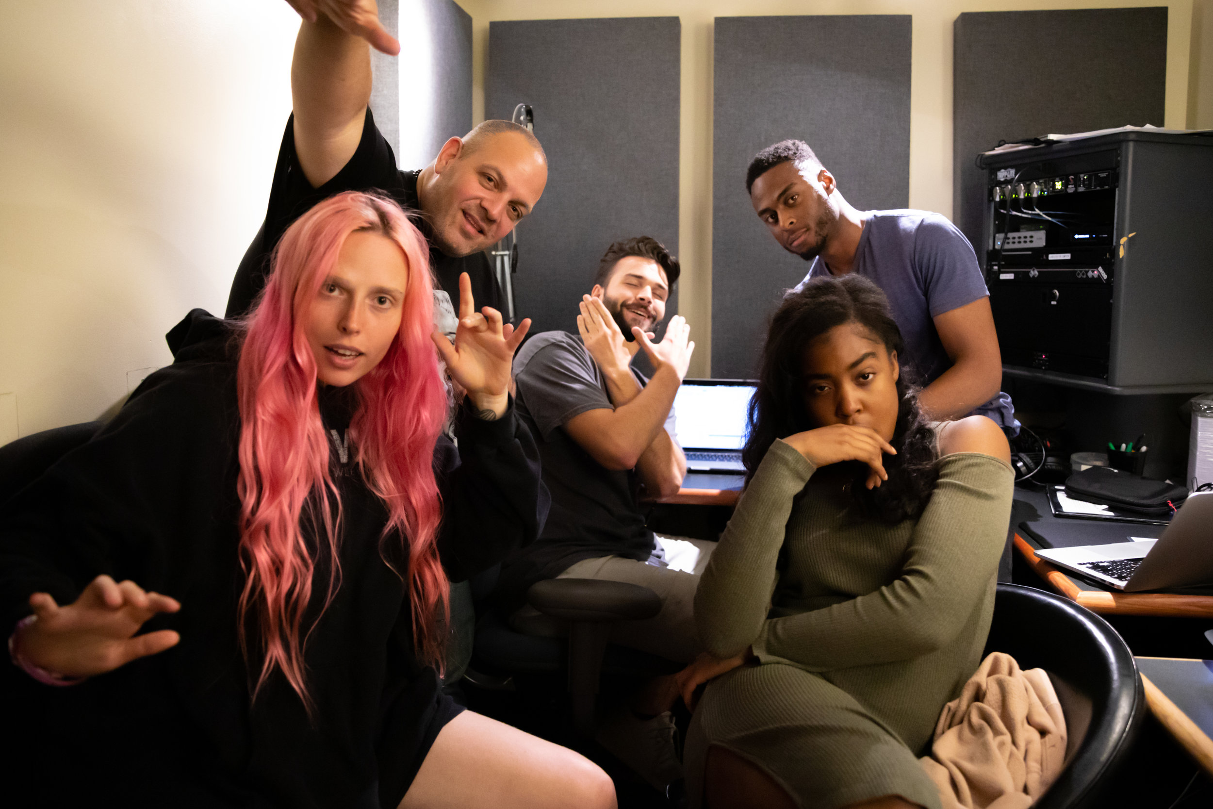 Recording vocals with the team.  (Stephen Mihalchik , Mery Racauchi, Kathrine Elam, Producers Lucas and Nnandi.
