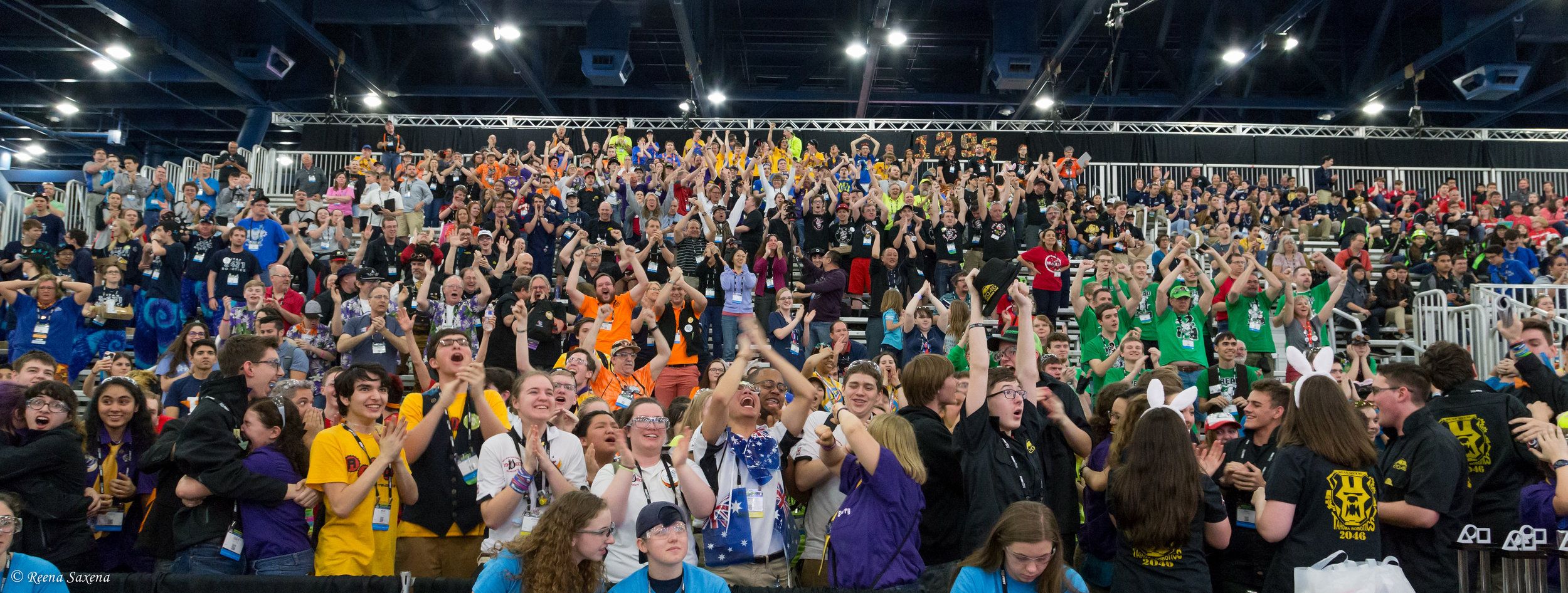 "The audience at FIRST World Championship 2017, the moment that the IRS's alliance qualified for ""Einstein's"" (Finals)."