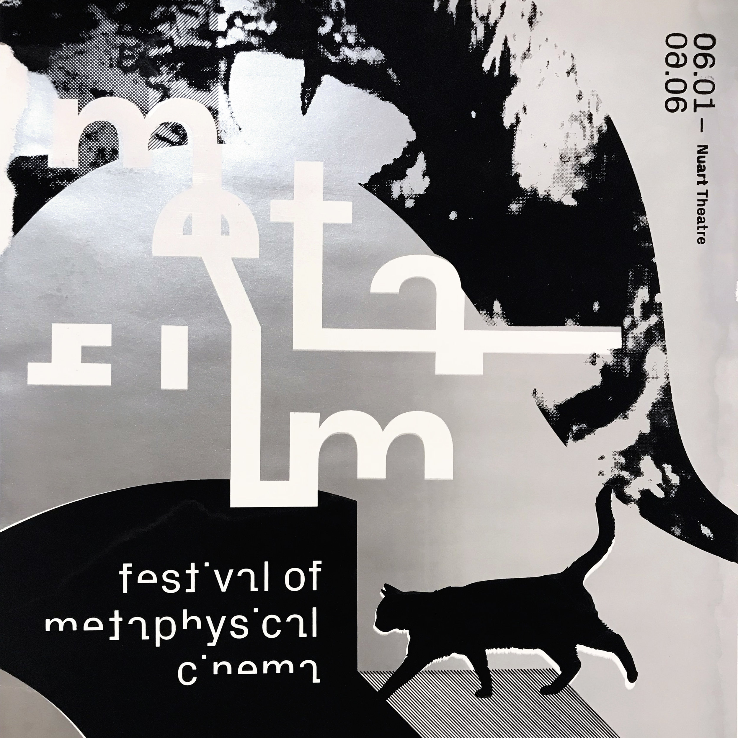 Detail of a silkscreen printed poster with metallic inks for  Metafilm: a Festival of Metaphysical Cinema  (2018)