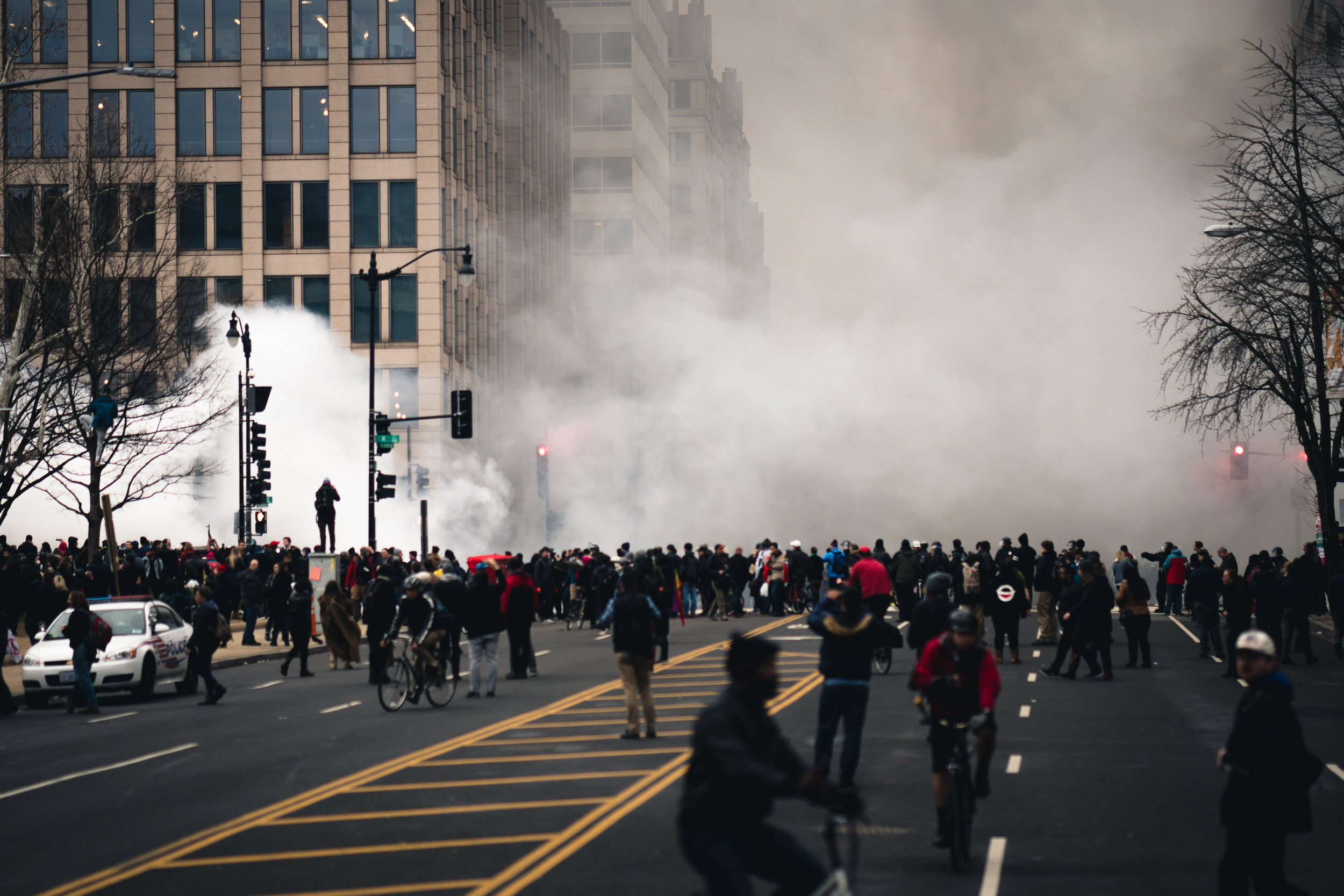 The moment when protest turned to riot, in my mind, when people set a limosine on fire in front of the Washington Post building, on Franklin Square.