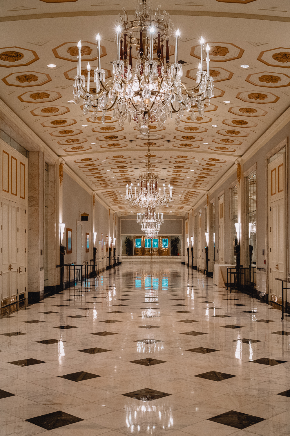 The grand hall that leads to the Mayflower's stunning ballrooms.