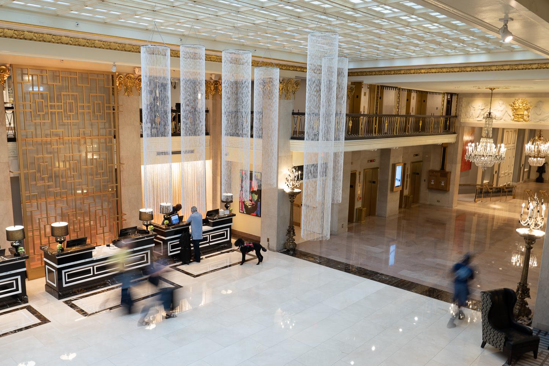 Lobby views of the Mayflower Hotel, Washington, DC.