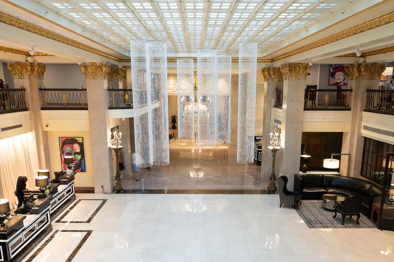Lobby views from the mezzanine of the Mayflower Hotel, Washington, DC.