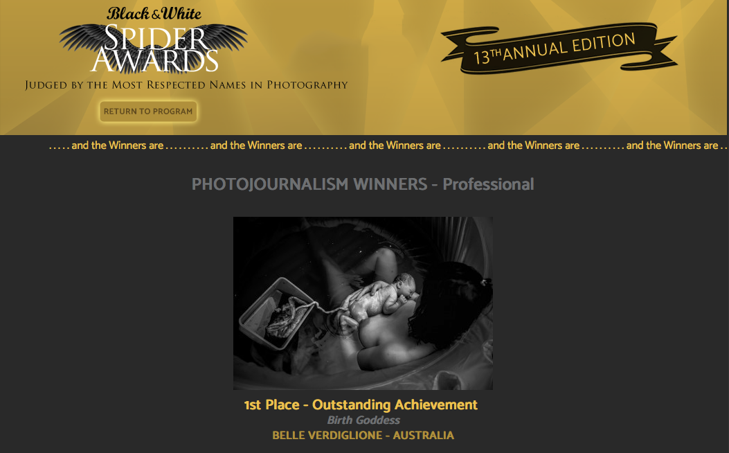 1st Place Winner -    Black and White Spider Awards    - Photojournalism