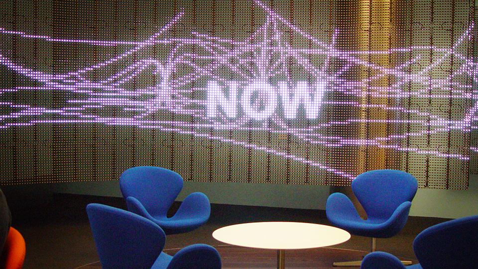 Dynamic LED mesh pulls live news feeds