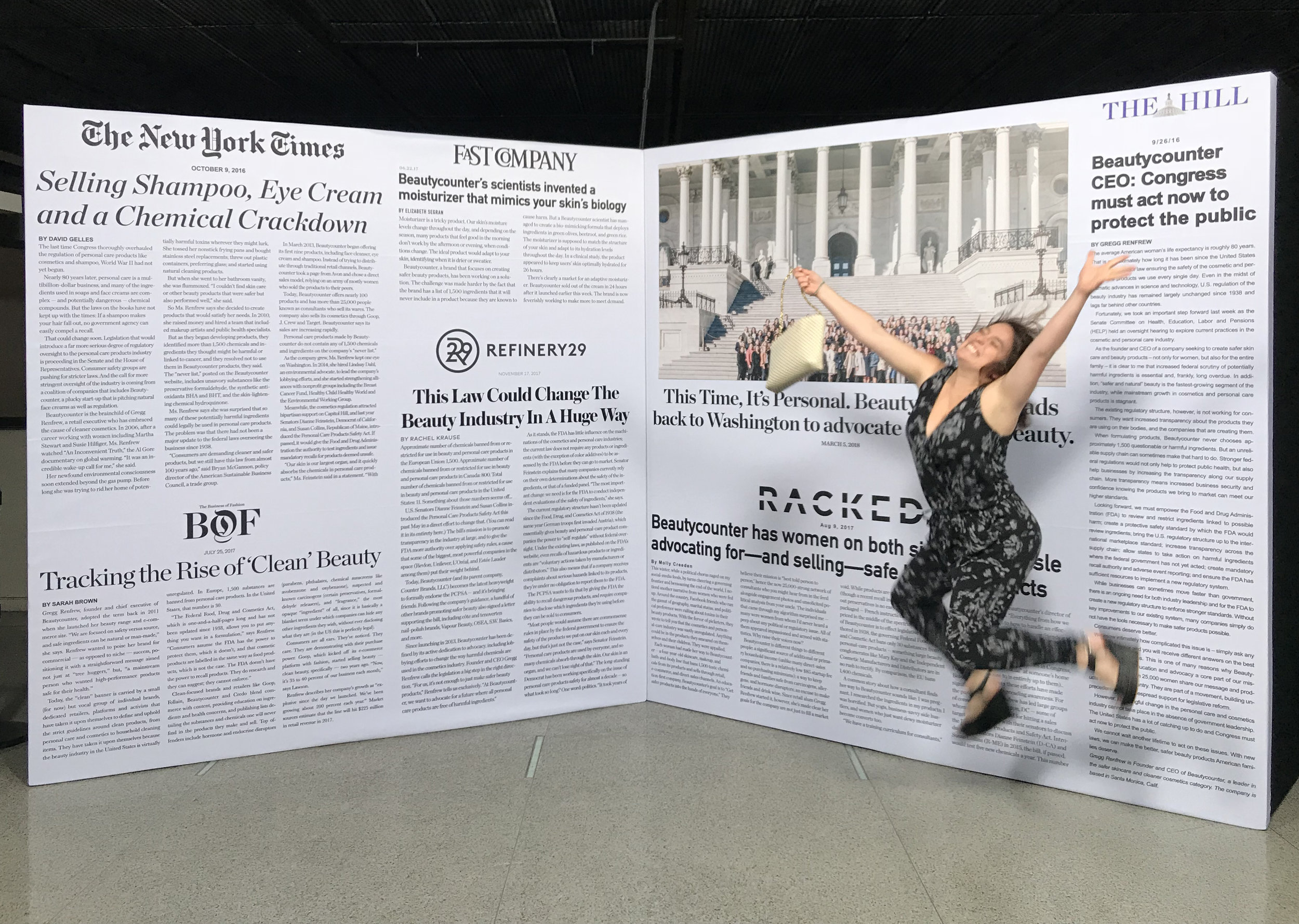 That's me, feeling energized after a day of participating in democracy and blissful that the event had come together successfully. Was also very excited about this newspaper wall featuring some of Beautycounter's best press that I designed for our evening event at the Newseum. :)