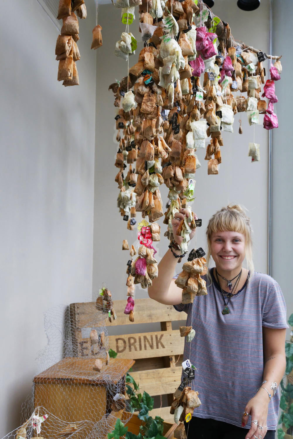 A chandelier, made from recycled tea bags! Credit: Art Pharmacy Consulting