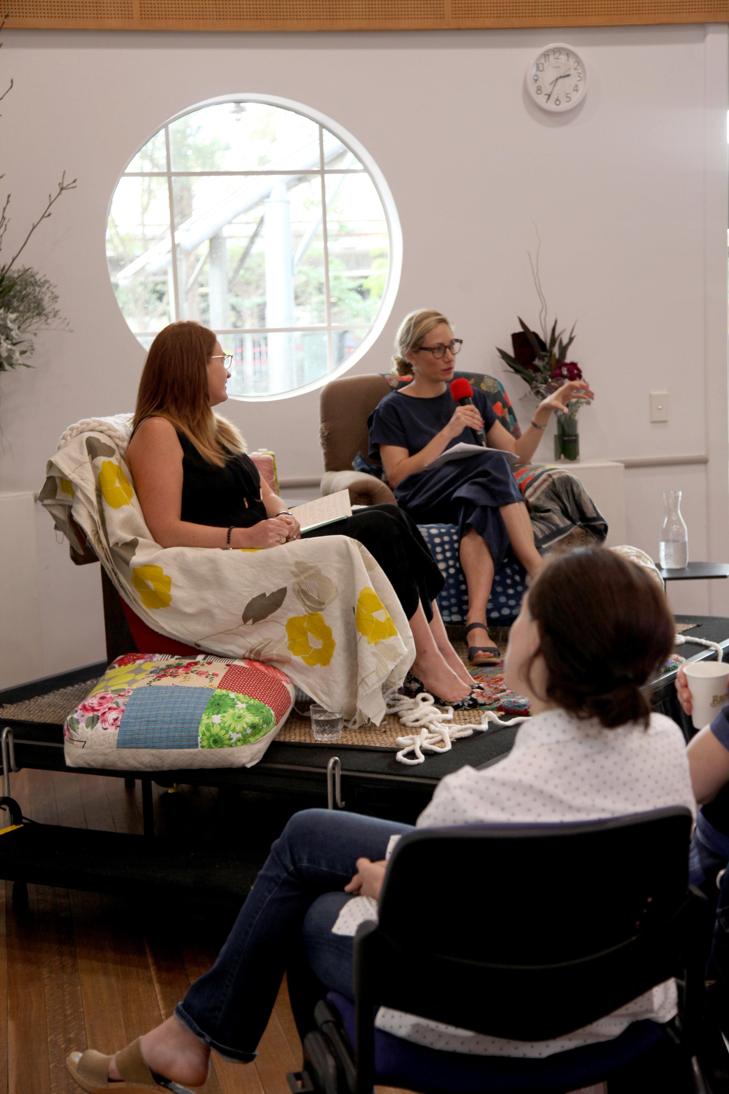 Emilya Colliver & Jo Kelly speaking for International Womens Day 2018, Credit: Yolande Gray at North Sydney Community Centre