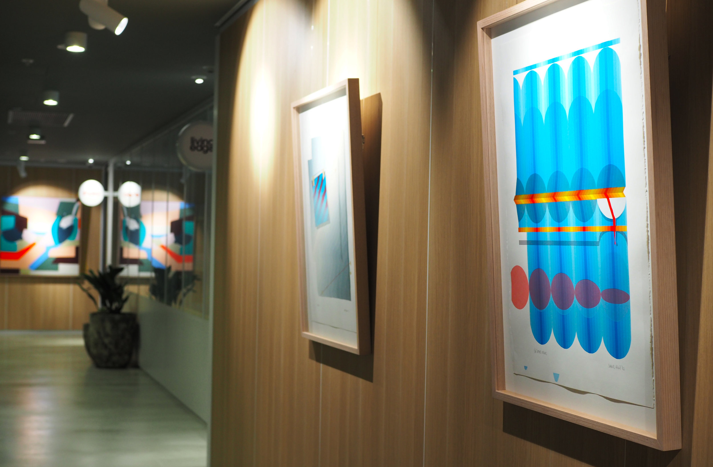 The curated artworks in situ at the Dexus Market Street offices. Credit: Art Pharmacy Consulting